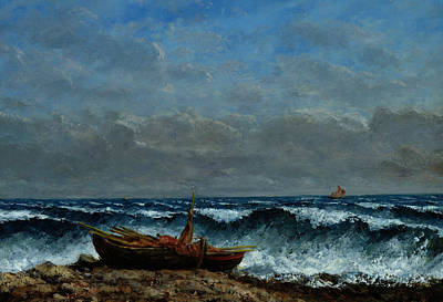 Sea View Painting - The Stormy Sea by Gustave Courbet