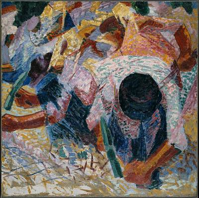 Umberto Boccioni Painting - The Street Pavers by Umberto Boccioni