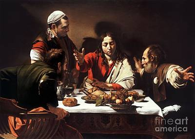 Caravaggio Drawing - The Supper At Emmaus  by Celestial Images