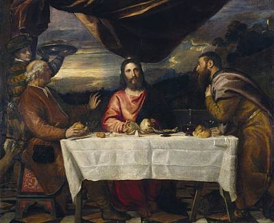 Supper At Emmaus Painting - The Supper At Emmaus by Titian