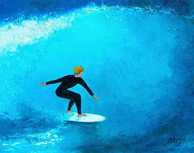 Surfers Painting - The Surfer by Jan Matson