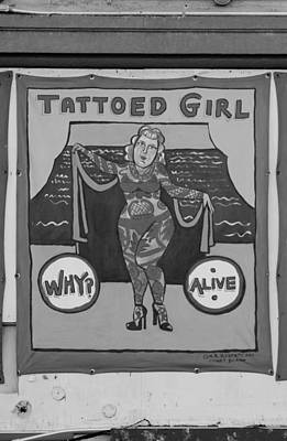 The Tattoed Girl In Black And White Art Print