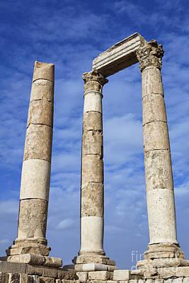 Pillars Of Hercules Photograph - The Temple Of Hercules In The Citadel Amman Jordan by Robert Preston