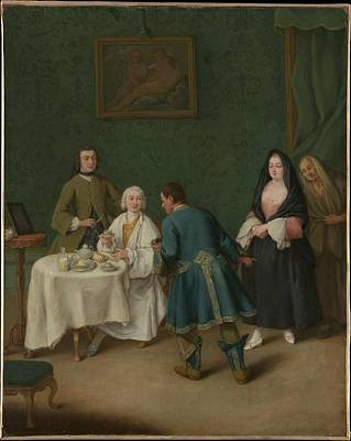 Pietro Longhi Painting - The Temptation by Pietro Longhi