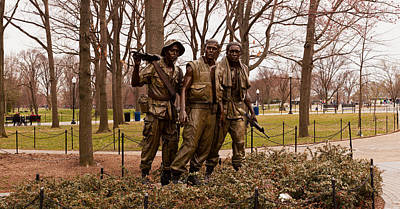 Human Representation Photograph - The Three Soldiers Bronze Statues by Panoramic Images