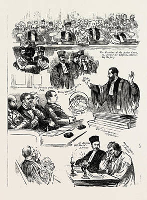 Clovis Drawing - The Trial Of Madame Clovis Hugues In Paris For The Murder by English School