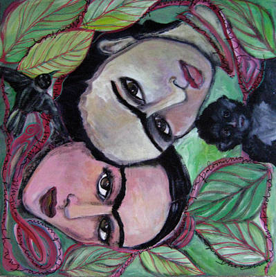 Painting - The Two Fridas With Red Ribbon by Laurie Maves ART