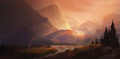 Mountain Valley Painting - The Valley by Kristina Vardazaryan