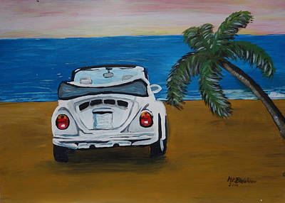 The Vw Bug Series - The White Volkswagen Bug At The Beach Original by M Bleichner