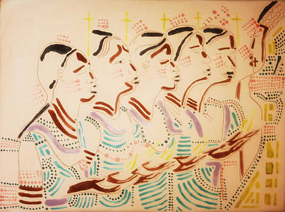 Uganda Contemporary Ceramics Painting - The Wise Virgins by Gloria Ssali