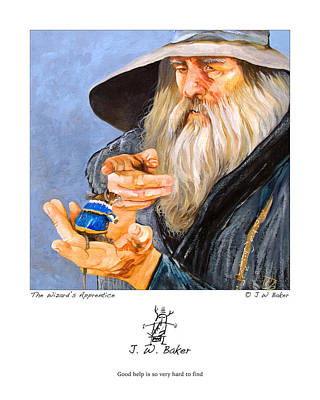 Sorcerer Painting - The Wizard's Apprentice by J W Baker