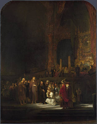 Painting - The Woman Taken In Adultery by Rembrandt