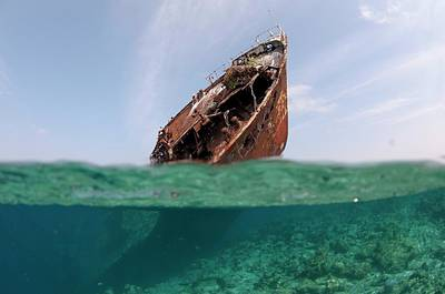 The Wreck Of Skipjack II In The Maldives Print by Scubazoo