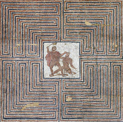 Minotaur Wall Art - Photograph - Theseus Mosaic, 4th Century by Science Source