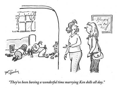 Leisure Time Drawing - They've Been Having A Wonderful Time Marrying Ken by Mike Twohy