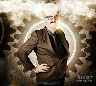 Thinking Businessman With Big Brain Print by Jorgo Photography - Wall Art Gallery