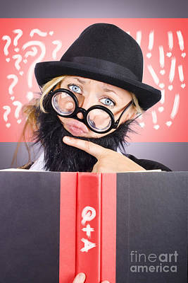Comics Royalty-Free and Rights-Managed Images - Thinking male professor with questions and answers by Jorgo Photography - Wall Art Gallery
