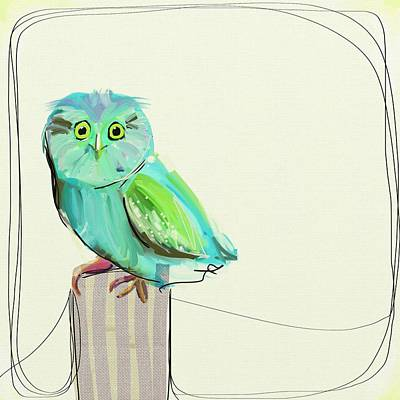 Owl Painting - This Little Guy by Cathy Walters