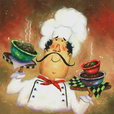 Three Bowl Chef Art Print by Vickie Wade
