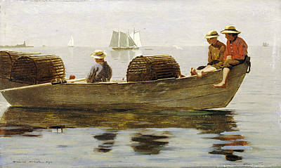 Fishing In Stream Painting - Three Boys In A Dory by Celestial Images