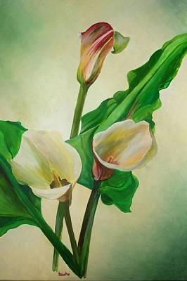 Calla Painting - Three Calla Lilies by Tracey Harrington-Simpson