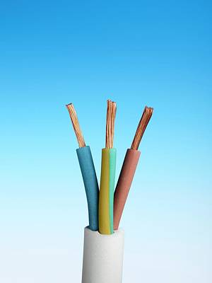 Three-core Electrical Cable Art Print by Science Photo Library