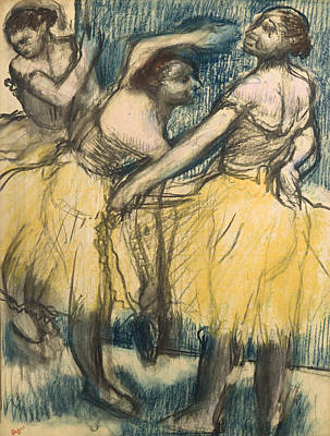 Backstage Drawing - Three Dancers In Yellow Skirts by Edgar Degas