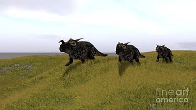 Gigantic Digital Art - Three Einiosaurus Dinosaurs Walking by Kostyantyn Ivanyshen