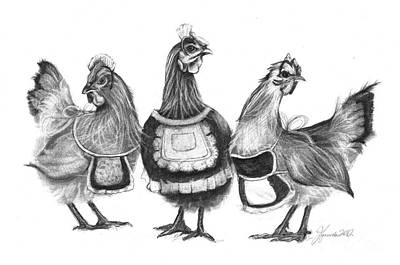 Drawing - Three French Hens by J Ferwerda
