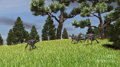 Digital Art - Three Gigantoraptors Running by Kostyantyn Ivanyshen