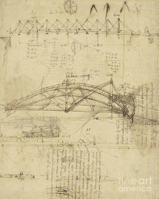 Genius Wall Art - Drawing - Three Kinds Of Movable Bridge by Leonardo Da Vinci