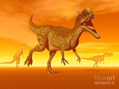 Three Monolophosaurus Dinosaurs Art Print by Elena Duvernay