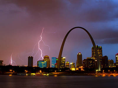 Jefferson National Expansion Memorial Photograph - Thunderstorm Over St Louis by Garry McMichael