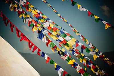 Tibetan Buddhist Prayer Flags Stupa Boudnath Print by Raimond Klavins