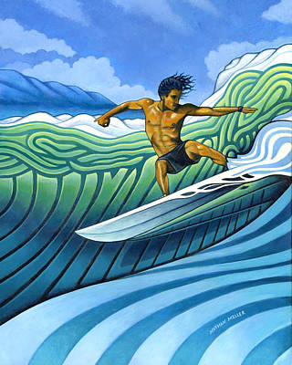 Surfing Art Painting - Tico Surfer by Nathan Miller