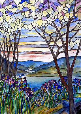 Stained Glass Tiffany Frank Memorial Window Art Print by Donna Walsh