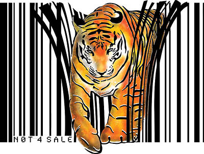 Stencil Digital Art - Tiger Barcode by Sassan Filsoof