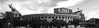 Louisiana State University Photograph - Tiger Stadium Panorama - Bw by Scott Pellegrin