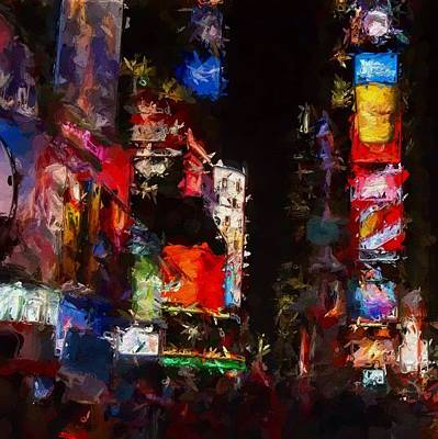 Times Square By Night Print by Stefan Kuhn