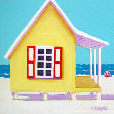 Painting - Tiny Yellow Cottage By The Sea by Rebecca Korpita