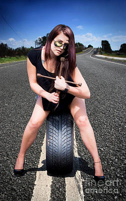 Photograph - Tire Mechanic With Tyre by Jorgo Photography - Wall Art Gallery