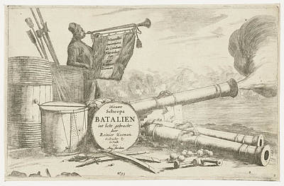 Trumpet Player Drawing - Title Page With The Equipment Of A Warship And A Trumpet by Reinier Nooms