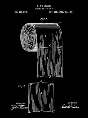 Ply Digital Art - Toilet Paper Roll Patent 1891 - Black by Stephen Younts