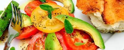 Vinaigrette Photograph - Tomato And Avocado Salad by Don Bendickson