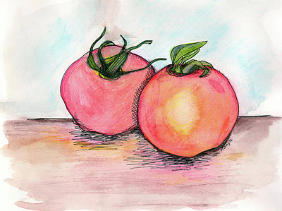 Kitchen Watercolor Painting - Tomatoes by Anne Seay