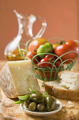 Tomatoes In Wire Basket, Olives, Cheese, Bread And Olive Oil Art Print