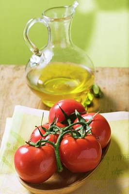 Tomatoes On The Vine And Olive Oil Art Print