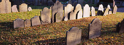 North End Photograph - Tombstones In A Cemetery, Copps Hill by Panoramic Images