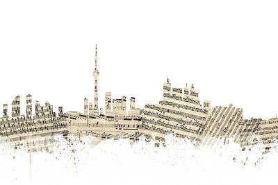 Sheet Music Digital Art - Toronto Canada Skyline Sheet Music Cityscape by Michael Tompsett