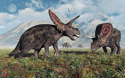 Torosaurus Dinosaurs During Earths Art Print